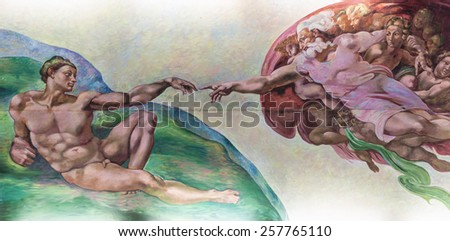 BANGKOK THAILAND - FEBRUARY 28 : The creation of Adam or God's touch with finger, painting on the ceiling in church Thailand on February 28, 2015 - stock photo