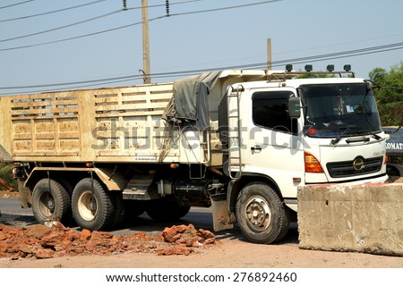 BANGKOK-THAILAND-FEBRUARY 2 : The dump truck for construction the road on February 2, 2015 Bangkok, Thailand. - stock photo