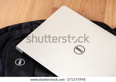 BANGKOK, THAILAND - FEBRUARY 03, 2016: The new Dell Vostro 5459 (Gold) notebook. - stock photo
