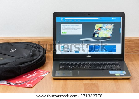BANGKOK, THAILAND - FEBRUARY 02, 2016: The new Dell Vostro 5459 (Gold) notebook opening Dell official website. - stock photo