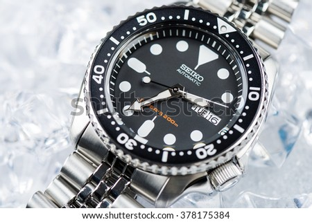 BANGKOK, THAILAND - FEBRUARY 18, 2016: The SEIKO Diver's 200m Automatic SKX007 with 7S26 movement and jubilee bracelet.
