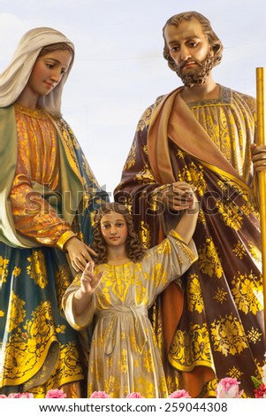 BANGKOK THAILAND - FEBRUARY 28 : The statue of Virgin Mary with baby jesus in church Thailand, good friday concept on February 28, 2015 - stock photo