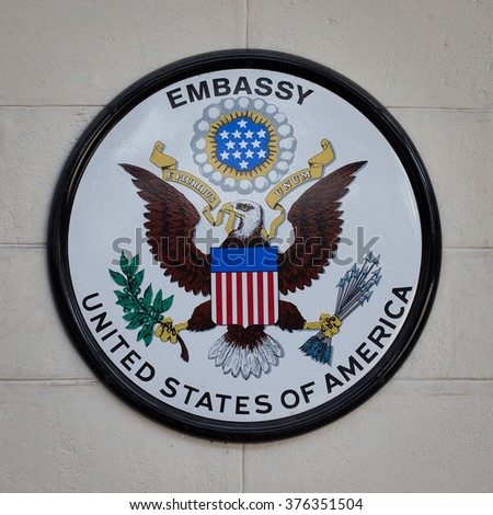 BANGKOK,THAILAND - FEBRUARY 13 2016: The USA embassy sign. The embassy is located on Wireless Road in the heart of Bangkok. - stock photo