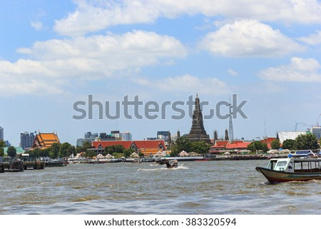 Bangkok, Thailand - February 28, 2016: view of the Chao Phraya River in Bangkok - is the choice of boat trip.