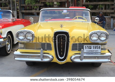 BANGKOK, THAILAND - FEBRUARY 27 :Vintage American classic car displayed on outdoor market on Feb 27 2016 in Bangkok, Thailand. The meeting of people who loved American Classic car.