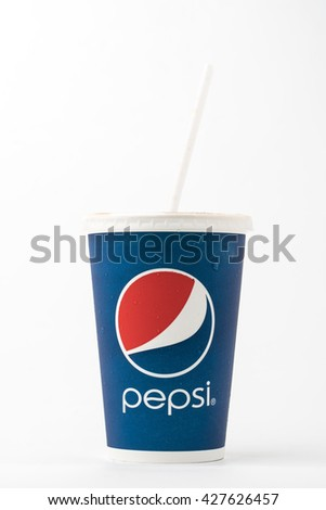 Bangkok, Thailand - February 10, 2016: Vintage glass with the logo of Pepsi-old close up. Pepsi is a carbonated soft drink sold in stores, restaurants and vending machines around the world.