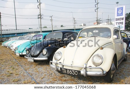 BANGKOK, THAILAND - FEBRUARY 15 : Volkswagen retro vintage car display in Siam VW festival 2014 on February 15, 2014 in Bangkok Thailand.