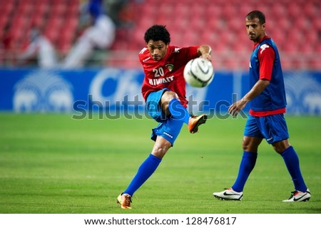 BANGKOK THAILAND-FEBRUARY 06:Yousef Nasser of Kuwait in action during the football 2015 Asian Cup qualifying  between Thailand and Kuwait at Rajamangala stadium on Feb 06, 2013 in,Thailand.