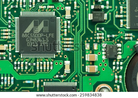Bangkok, Thailand - Febuary 21, 2015: Closeup of Marvell IC on HP HDD controller PCB