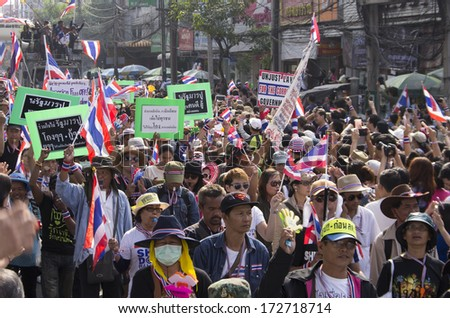 Bangkok, Thailand - Jan19, 2014: Anti-government protesters at the Kasetsart junction, Phahonyothin during the rally for shut down the city and force the resignation of PM Yingluck Shinawatra.