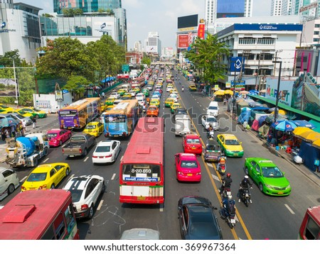 Bangkok, Thailand - JAN 30, 2016 : Daily traffic jam in the afternoon at Ratchaprasong Junction, Central World shopping mall, Bangkok, Thailand. - stock photo