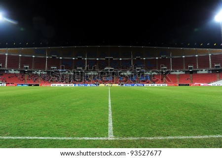 BANGKOK THAILAND-JAN15:Rajamangala stadium  during the 41st King's cup football between Thailand(Y) and KoreaRep(R)at Rajamangala stadium on Jan15,2012 in Bangkok,Thailand.