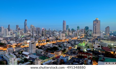 BANGKOK, THAILAND - JAN 18: Silom skyline in evening on MAY 18, 2016 in Bangkok. Silom is one of the most important business district of Thailand, located in the most center area of Bangkok.