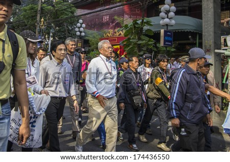 Bangkok, Thailand - Jan30, 2014: Suthep Thaugsuban, leading the march along Sukhumvit road from On Nut to Pathumwan junction in a fresh rally to campaign for reform before election.