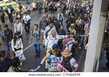 Bangkok, Thailand - Jan30, 2014: Suthep Thaugsuban, leading the march from On Nut to Pathumwan junction in a fresh rally to campaign for reform before election.