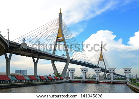 BANGKOK, THAILAND-JAN 14: The Bhumibol Bridge, also known as Industrial Ring bridge on Jan 14, 2013 in Bangkok. It is a part of 13 km long Industrial Ring Road connecting Bangkok with Samut Prakan.