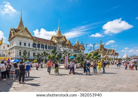 BANGKOK, THAILAND - JAN 9 : Unidentified tourists at Wat Phra Kaew on Jan 9 2016 in Bangkok, Thailand. Wat Phra Kaew is one of the most popular tourists destination in Thailand.