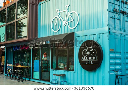 BANGKOK THAILAND - JANUARY 3 : All RIDE CAFE in Asiatique The riverfront at evening time , on  January 3, 2016 in Bangkok, Thailand.