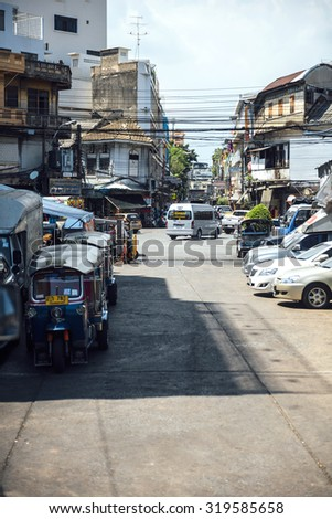 Bangkok, Thailand - January 01, 2015: Bangkok city street view with people working and moving to work, on January 01, 2015, in Bangkok, Thailand