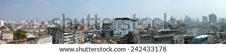 Bangkok, Thailand - January 3, 2015: Bangkok Panoramic view from building in China Town. - stock photo