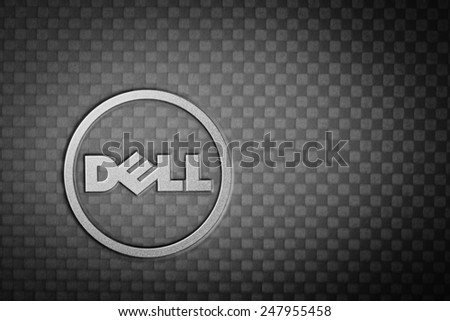 BANGKOK THAILAND - JANUARY 25 : Dell logo made from stainless steel on notebook cover black color, in Bangkok, Thailand on January 25, 2015