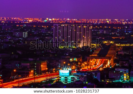 Bangkok, Thailand - January 31, 2018 - Evening scene of Bangkok city