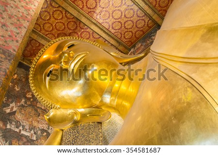 Bangkok, Thailand-January 15 2015 : Golden reclining giant buddha in wat pho temple