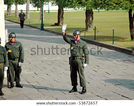 BANGKOK, THAILAND - JANUARY 15: Guards are controlling the entrance of the main gate of the Grand Palace January 15, 2008 in Bangkok, Thailand.