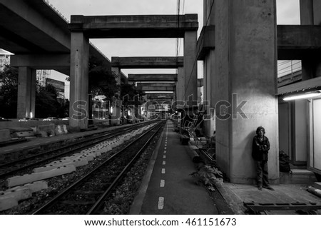 BANGKOK, THAILAND - January 25, 2016 :Man waiting for train at Bangkok Elevated Road and Train System (BERTS) or HopeWell Project at Bangkok Thailand