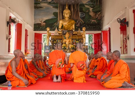 BANGKOK,THAILAND January 23 : Newly ordained Buddhist monk pray with priest procession. Newly ordained Buddhist monks have a ritual in the temple procession in January 23, 2016 - stock photo