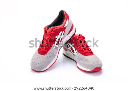 BANGKOK, THAILAND - JANUARY 2015 : Onitsuka Tiger ASICS Gel Lyte III on 25  January 2015 in Bangkok, Thailand. Onitsuka Tiger running shoe Highly breathable woven mesh upper.