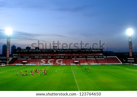 BANGKOK,THAILAND-JANUARY 6: Panoramic views PSV players assemble for a training  ahead of The AIA Champions Cup match between SCG Muangthong Utd. and PSV at SCG Stadium on Jan6,2012 in ,Thailand.