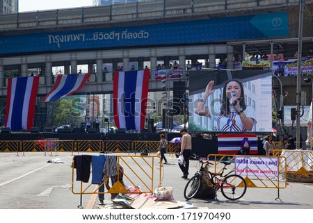 """BANGKOK,THAILAND- JANUARY 16: Protesters protest against Thai government corruption in the fourth day of joining """"Shut down Bangkok"""" campaign. on January 16,2014 in Bangkok,Thailand - stock photo"""