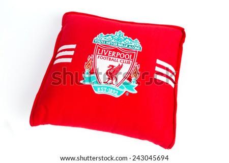 BANGKOK, THAILAND - JANUARY 08, 2015: red pillow with Liverpool logo on 8 January 2015 in Bangkok Thailand. - stock photo