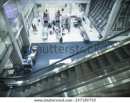 BANGKOK, THAILAND - JANUARY 17, 2015 : Security check area at Suvanaphumi Airport. The airport is world's 4th largest single-building airport terminal. - stock photo