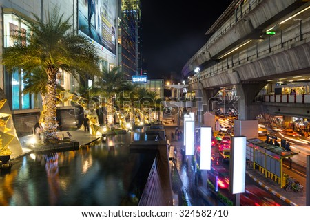 BANGKOK, THAILAND - JANUARY 23, 2015: Siam Paragon shopping center at night Bangkok, Thailand. Siam Paragon is one of the largest malls in the world.