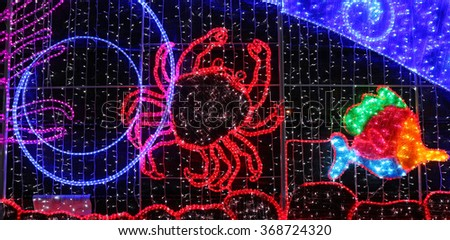 BANGKOK, THAILAND - JANUARY 1 :The Beautiful LED lighting decoration show for New year celebrate at Bangkok City Hall on January 1, 2016 in Bangkok, Thailand