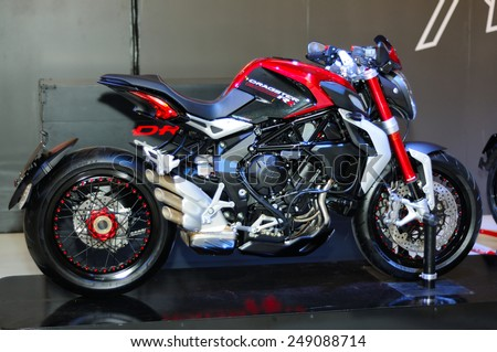BANGKOK, THAILAND - January 29: The Brutale Dragster 800 RR is on display during the 7th Bangkok Motorbike Festival on January 29, 2015 at Central World in Bangkok, Thailand.