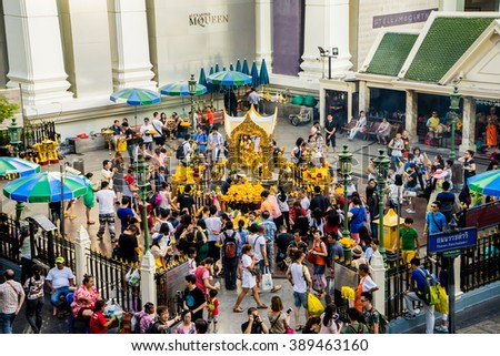 BANGKOK THAILAND - JANUARY 17 : The Erawan Shrine at Ratchaprasong Intersection at evening time, on  January 17, 2016 in Bangkok, Thailand. - stock photo
