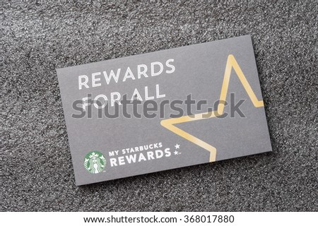 BANGKOK, THAILAND - JANUARY 27, 2016: The Starbucks card packages in Thailand. - stock photo