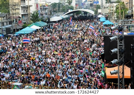 Bangkok, Thailand - January 16: Unidentified people join anti - government protest in Shut down Bangkok campaign at Asoke Interjunction on January 16, 2014