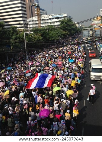 Bangkok, Thailand - January 16: Unidentified people join anti - government protest in Shut down Bangkok campaign  on January 16, 2014