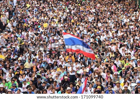 BANGKOK,THAILAND-JANUARY  13: Unidentified protesters  shut down the cityf or the reformation before election  at the Ratchaprasong rd. on January 13,2014 in Bangkok,Thailand. - stock photo