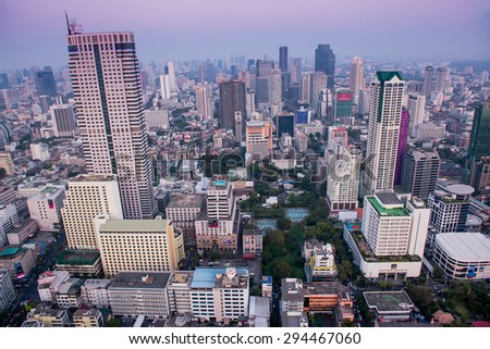 BANGKOK, THAILAND - Janyary 29. Panorama view over Bangkok on Janyary 29, 2013 in Bangkok, Thailand. Bangkok is the biggest city in Thailand with 7,02 million inhabitants. - stock photo