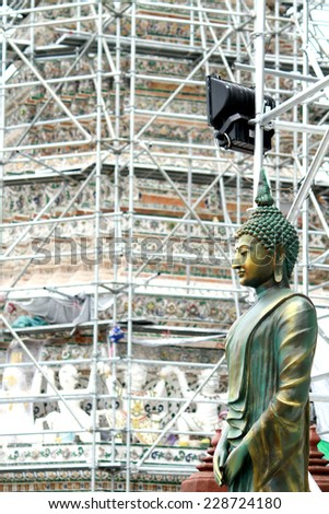 BANGKOK-THAILAND-JU LY 13 : Buddha statue in front of a Big pagoda in wat arunratchawararam temple on July 13, 2014 Bangkok, Thailand