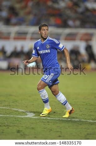 BANGKOK,THAILAND-JU LY17:Eden Hazard of Chelsea run during the international friendly match Chelsea FC and Singha Thailand All-Star at the Rajamangala Stadium on July17,2013 in Thailand.