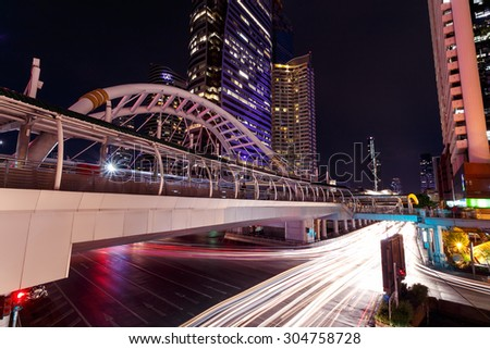 BANGKOK THAILAND - Jul 19 : Chong Nonsi Business Areas landmark and transport BTS Skytrain on BANGKOK THAILAND,Jul 19 2015