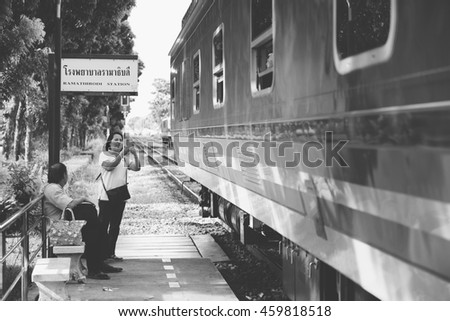Bangkok, Thailand - Jul 28 2016 : passengers wait for train on Ramathibodi Station in Bangkok Thailand.