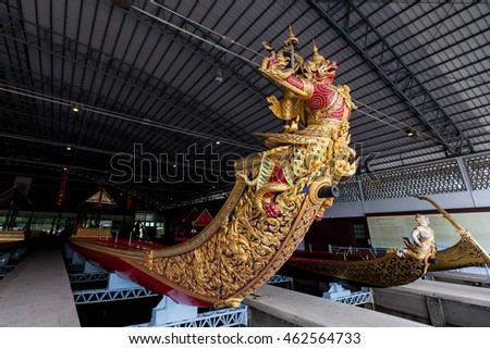 Bangkok, Thailand - JUL 23, 2016: Thai Royal Barge in Bangkok, Thailand. The Thai royal barges are used in the royal family during tradition reliogius procession to royal temple