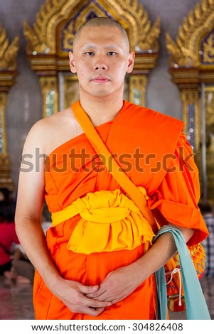 BANGKOK,THAILAND-JUL 24: The portrait of young monk in Thailand culture taken on Jul 24, 2015 - stock photo